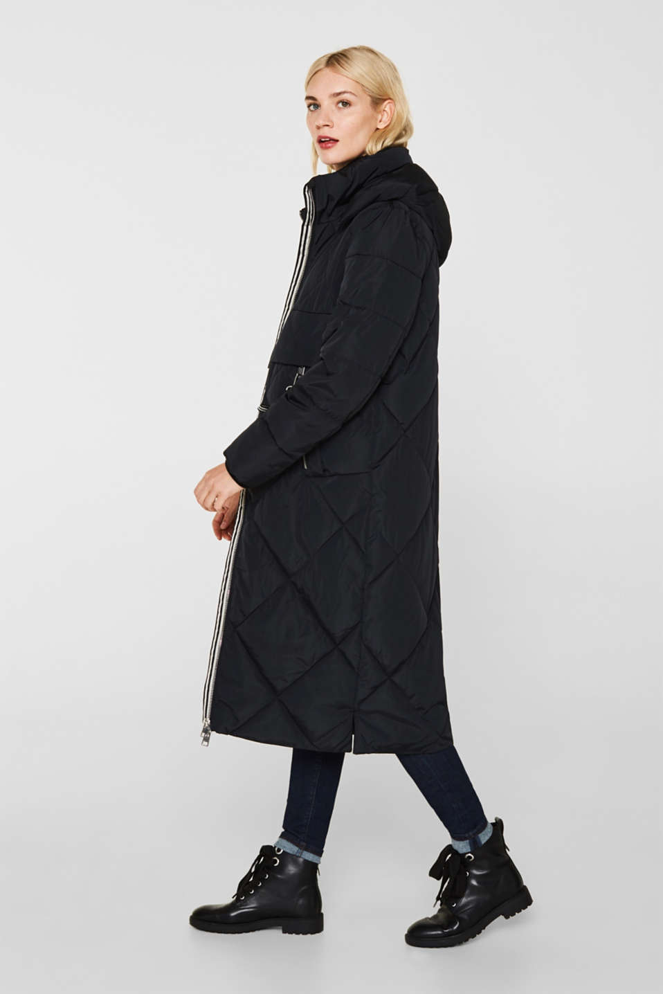 Quilted coat with a detachable hood, BLACK, detail image number 5