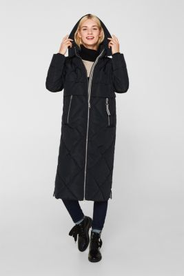 Quilted coat with a detachable hood, BLACK, detail