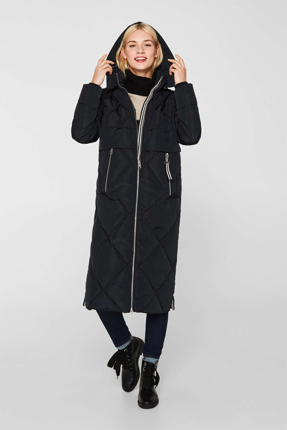 Quilted coat with a detachable hood, BLACK, detail image number 1