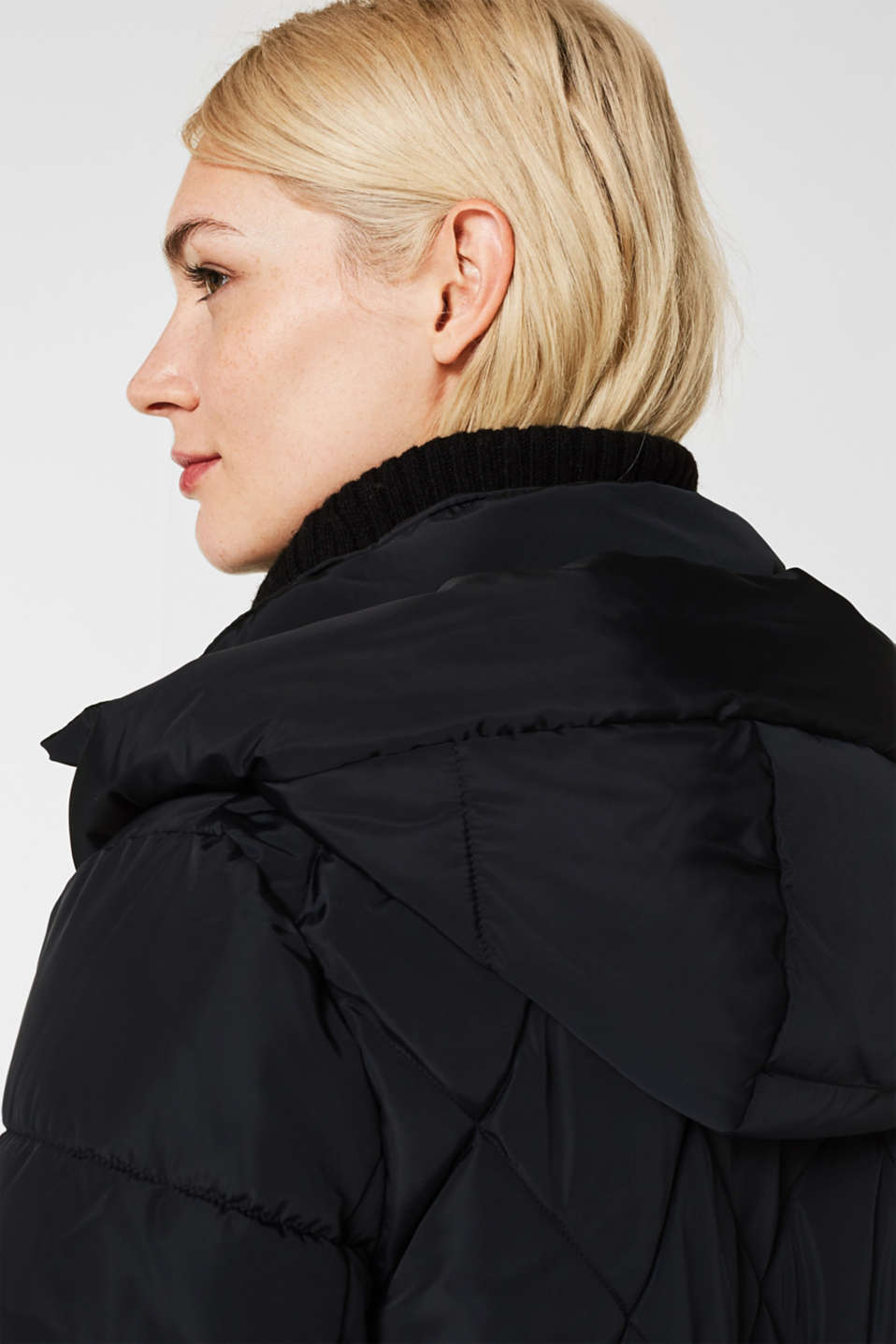 Quilted coat with a detachable hood, BLACK, detail image number 2