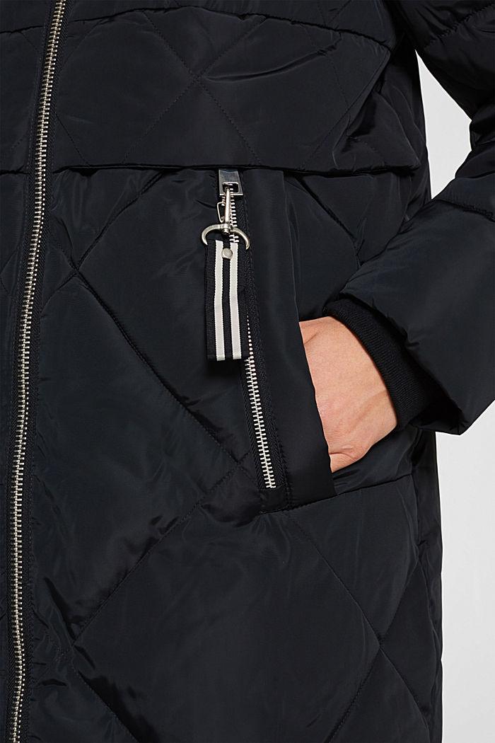 Stepp-Mantel mit abnehmbarer Kapuze, BLACK, detail image number 6