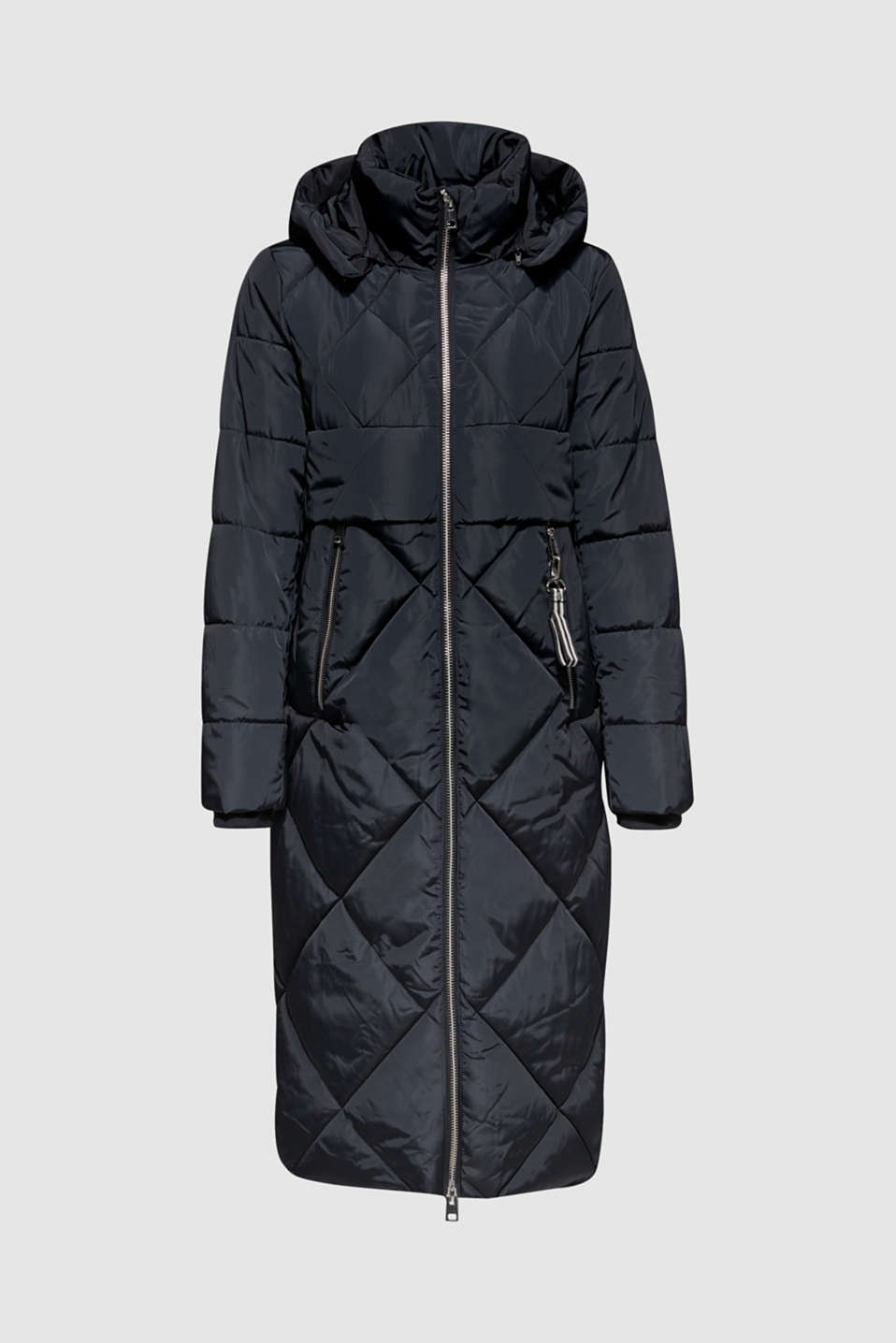 Quilted coat with a detachable hood, BLACK, detail image number 8