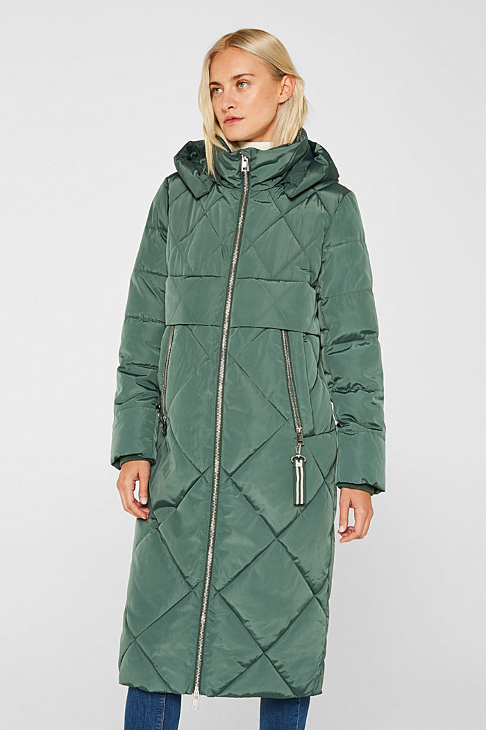 Quilted coat with a detachable hood, KHAKI GREEN, detail image number 0