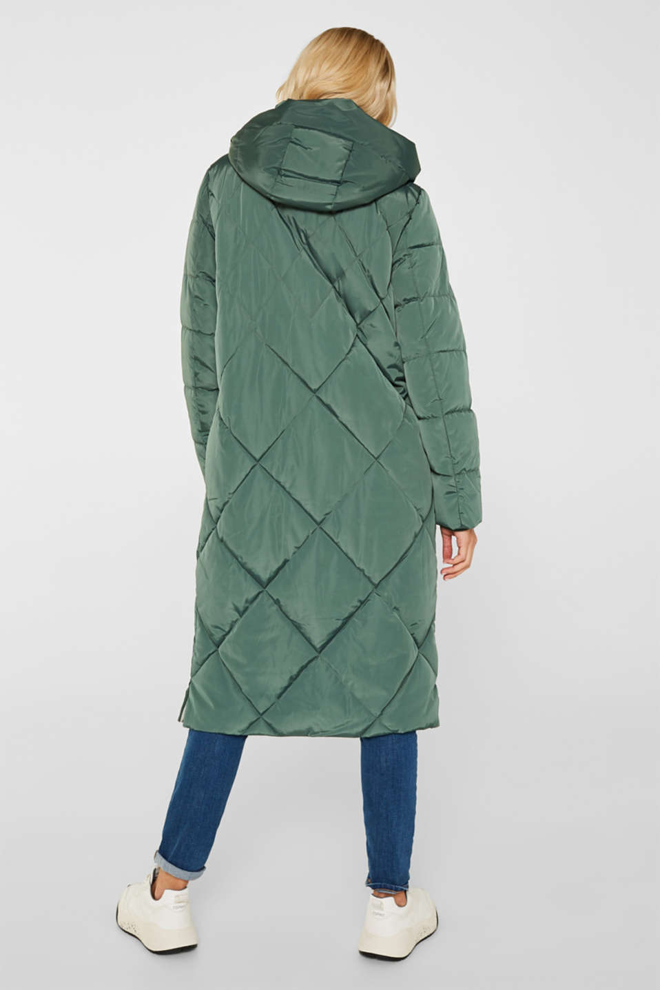 Quilted coat with a detachable hood, KHAKI GREEN, detail image number 3