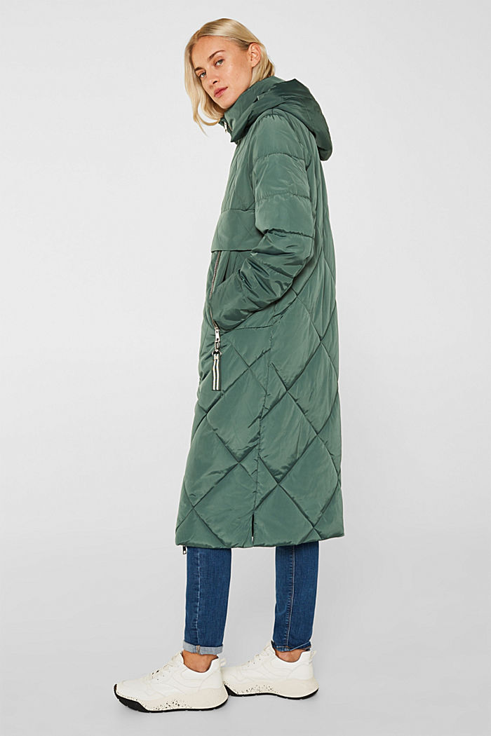 Quilted coat with a detachable hood, KHAKI GREEN, detail image number 5