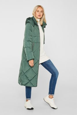 Quilted coat with a detachable hood, KHAKI GREEN, detail
