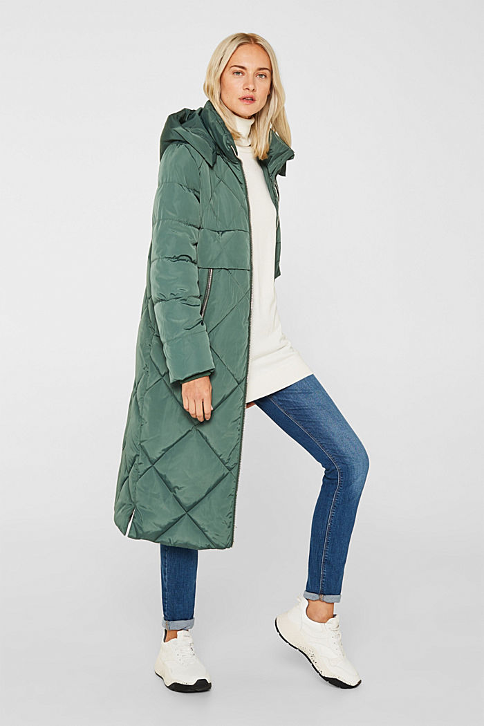 Quilted coat with a detachable hood, KHAKI GREEN, detail image number 1
