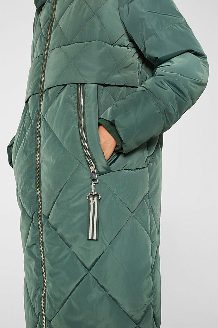 Quilted coat with a detachable hood, KHAKI GREEN, detail image number 2