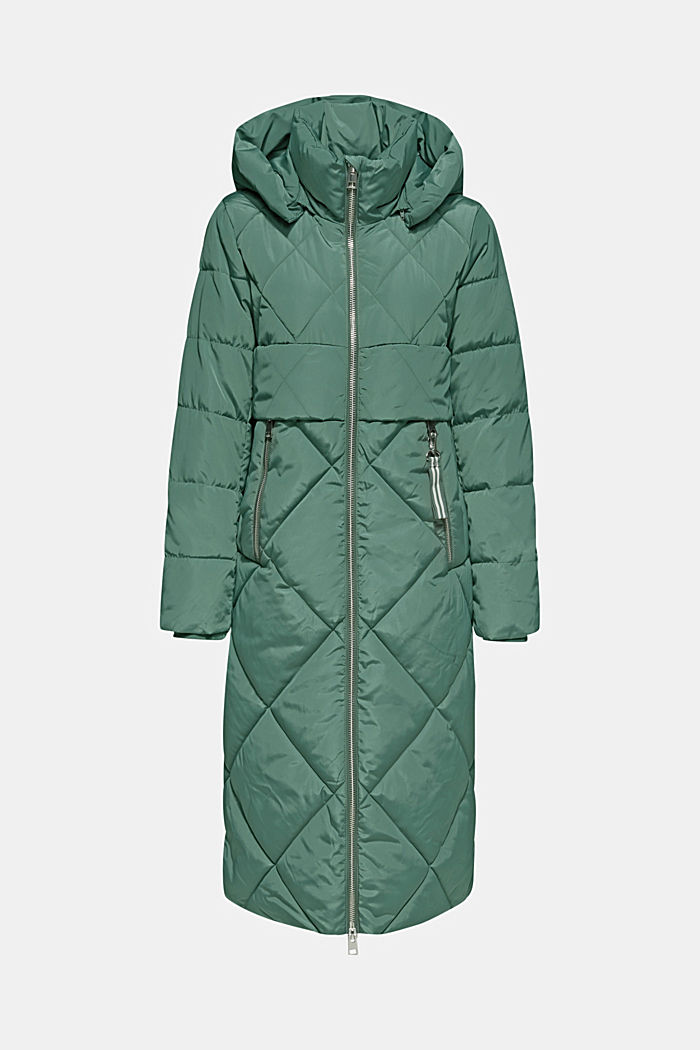 Quilted coat with a detachable hood, KHAKI GREEN, detail image number 6