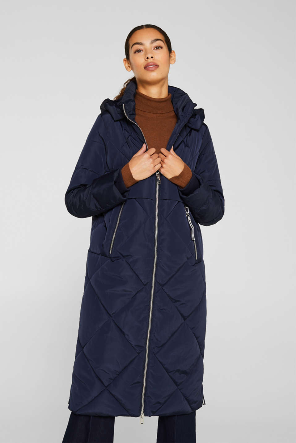 Quilted coat with a detachable hood, NAVY, detail image number 0