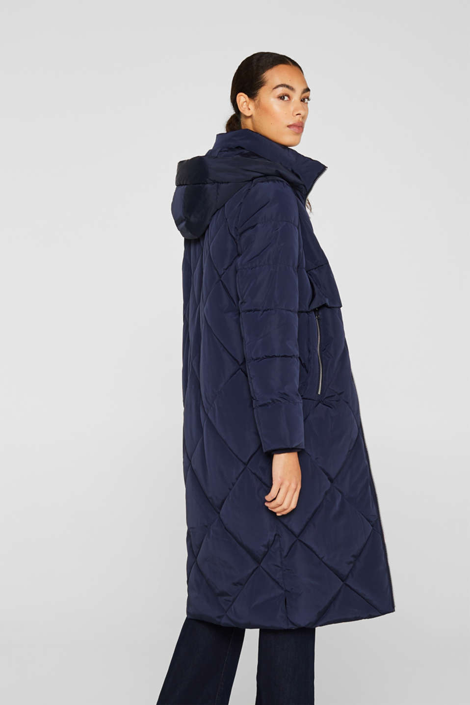 Quilted coat with a detachable hood, NAVY, detail image number 3