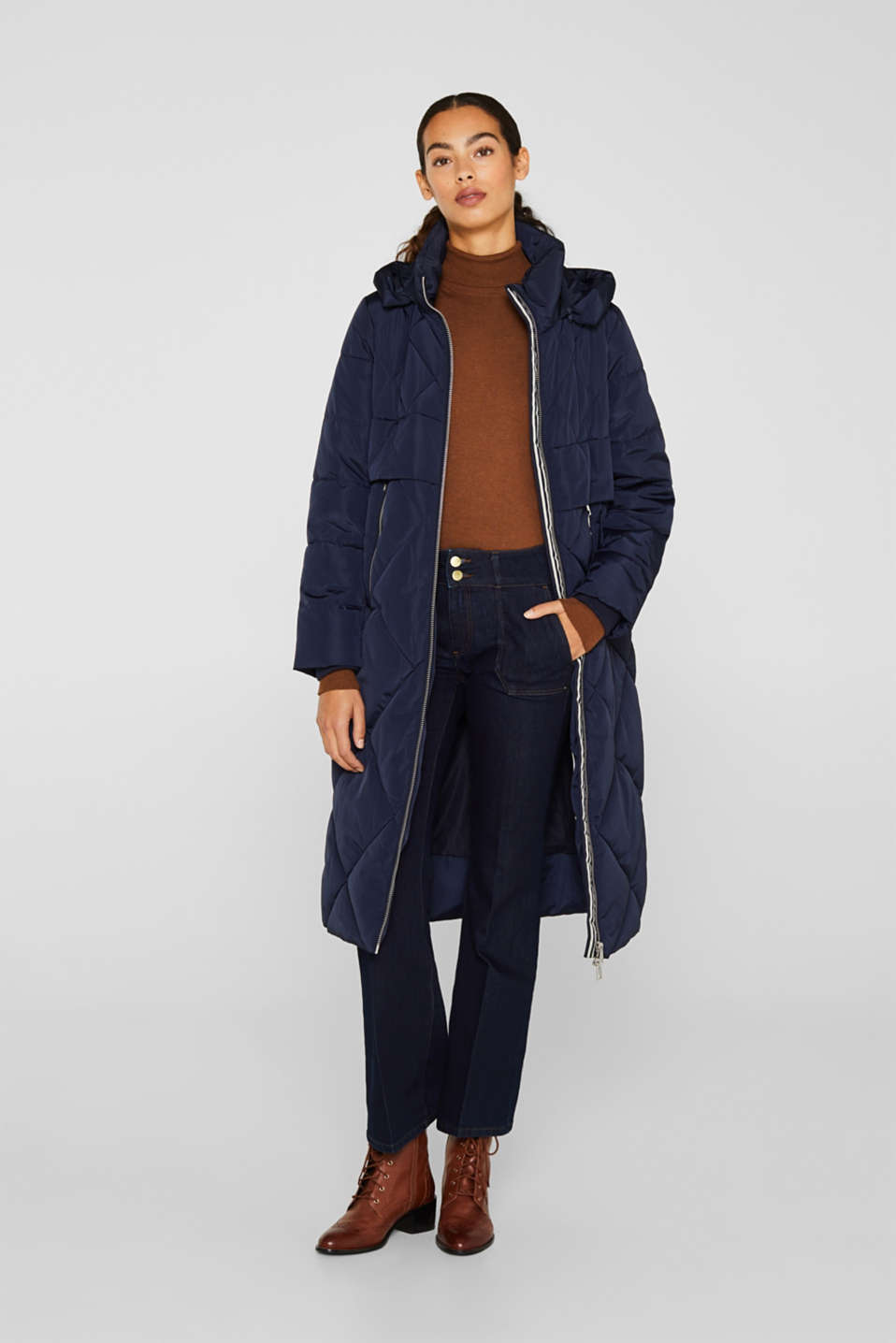 Quilted coat with a detachable hood, NAVY, detail image number 6