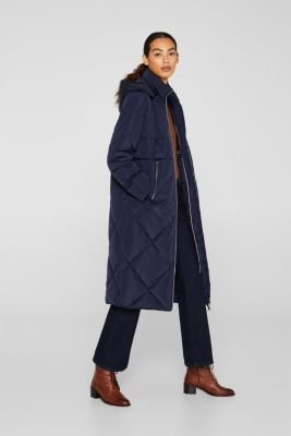 Quilted coat with a detachable hood, NAVY, detail