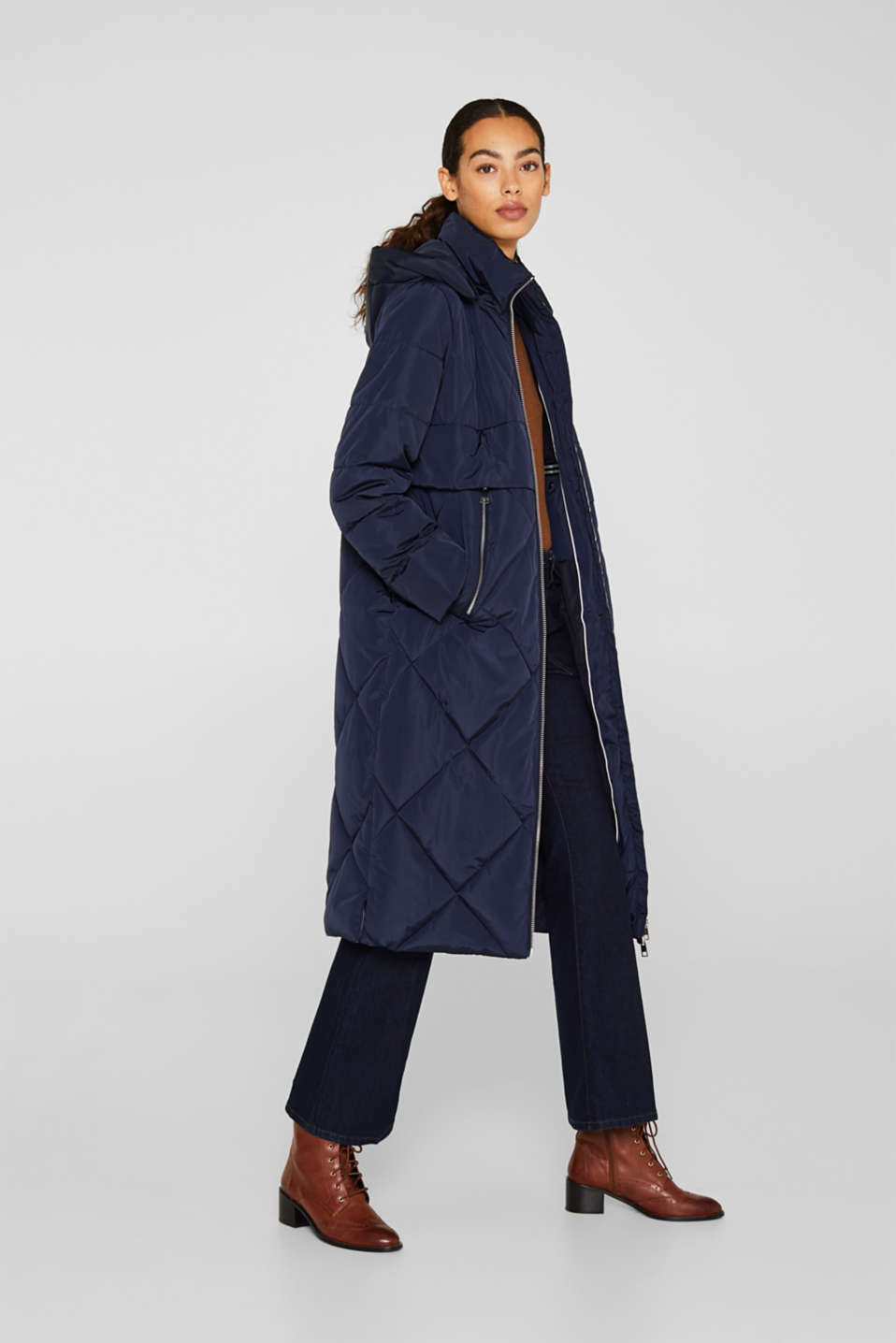 Quilted coat with a detachable hood, NAVY, detail image number 1