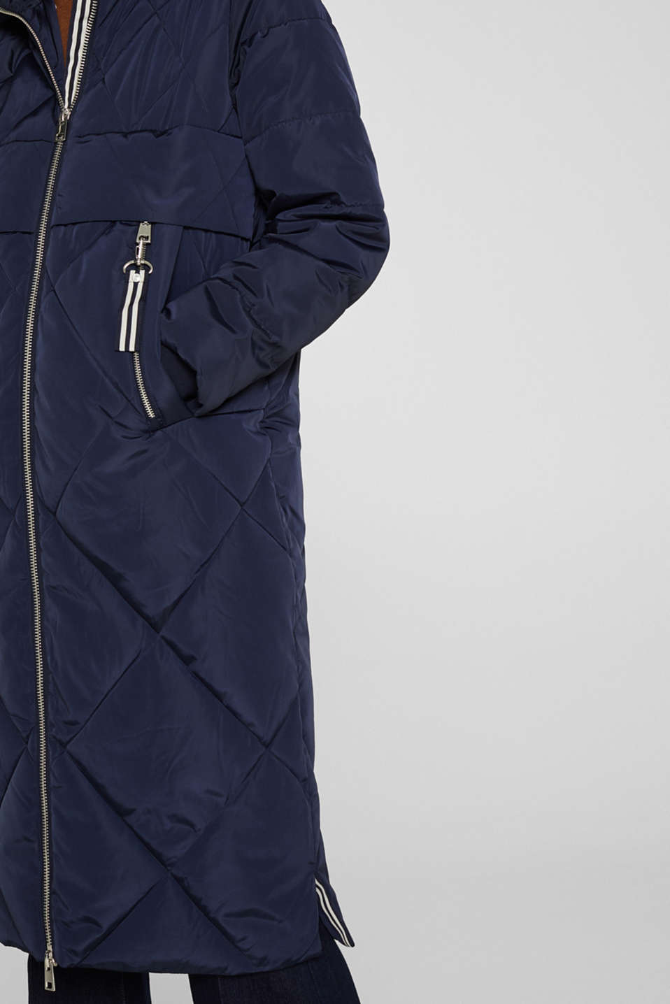 Quilted coat with a detachable hood, NAVY, detail image number 2