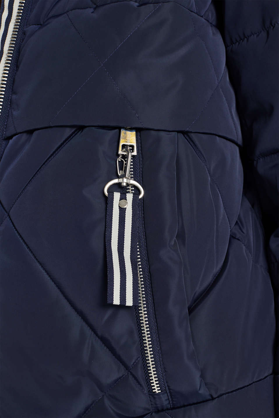 Quilted coat with a detachable hood, NAVY, detail image number 4