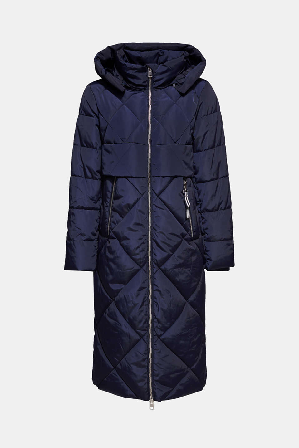 Quilted coat with a detachable hood, NAVY, detail image number 8