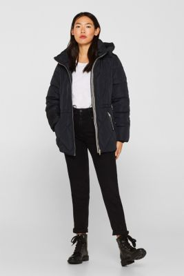 Quilted jacket with an adjustable hood, BLACK, detail