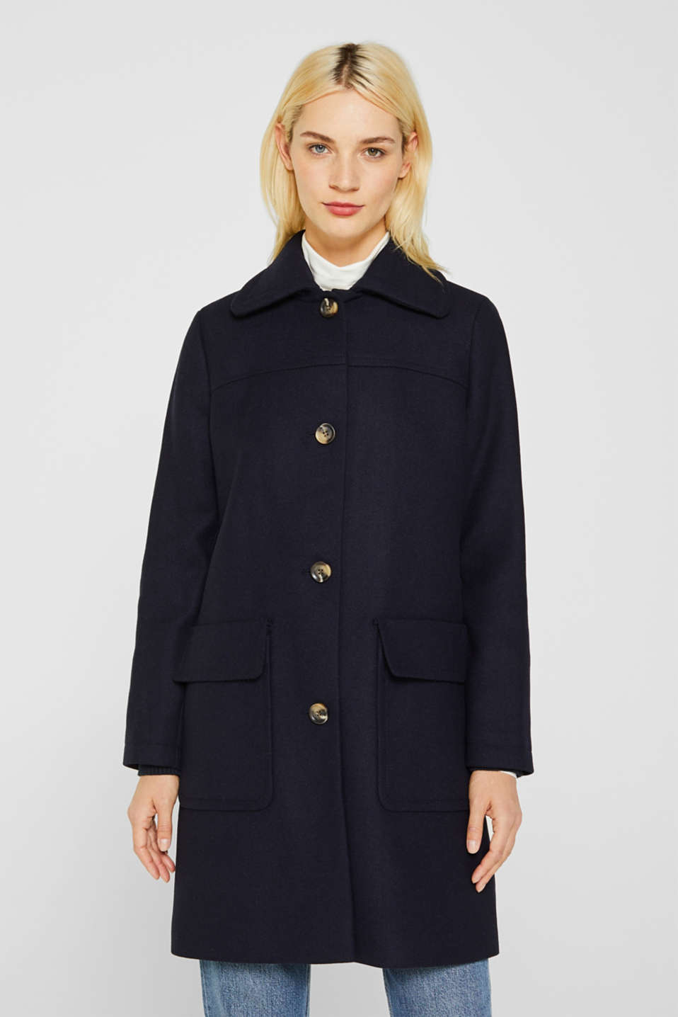 Blended wool: coat with flap pockets, NAVY, detail image number 0