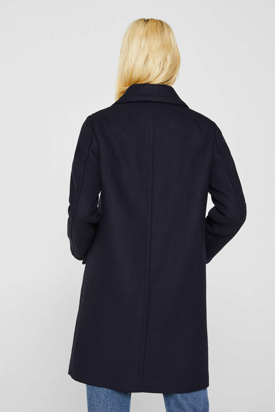 Blended wool: coat with flap pockets, NAVY, detail image number 3