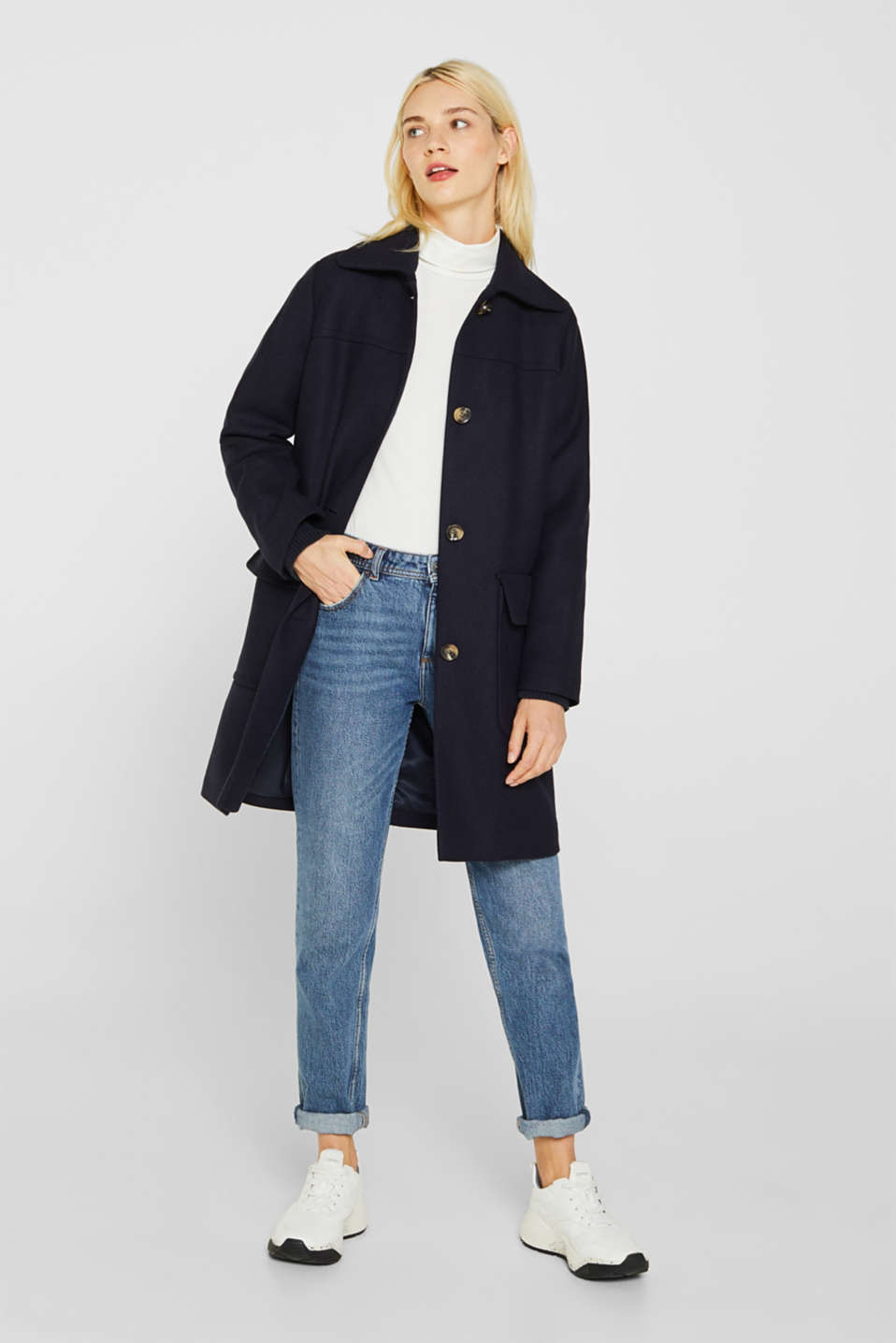 Blended wool: coat with flap pockets, NAVY, detail image number 1