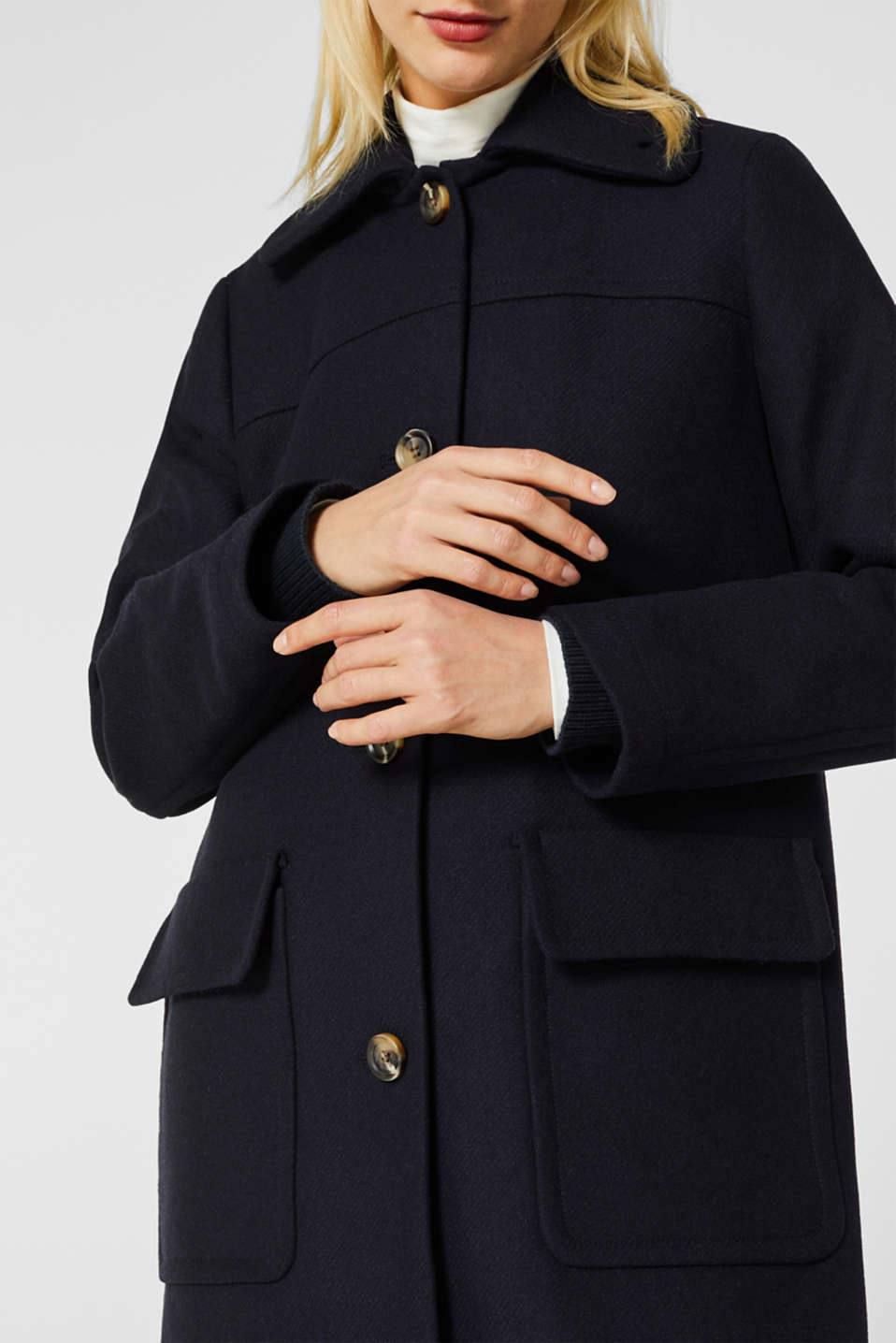 Blended wool: coat with flap pockets, NAVY, detail image number 2