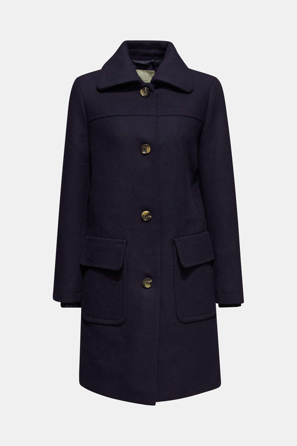 Blended wool: coat with flap pockets, NAVY, detail image number 5