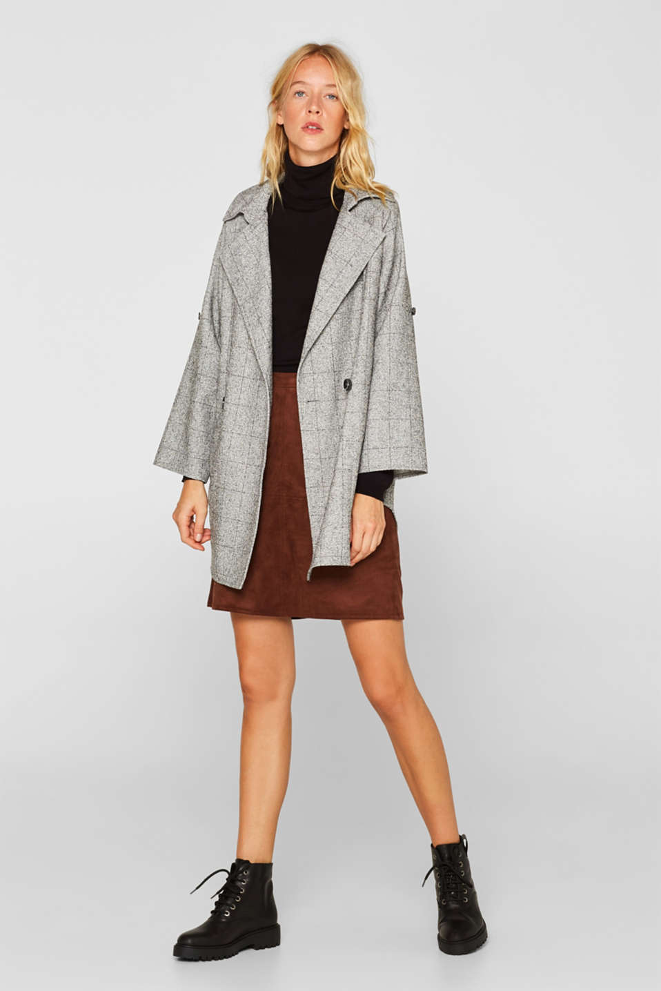 Oversized blazer made of melange jersey, LIGHT GREY, detail