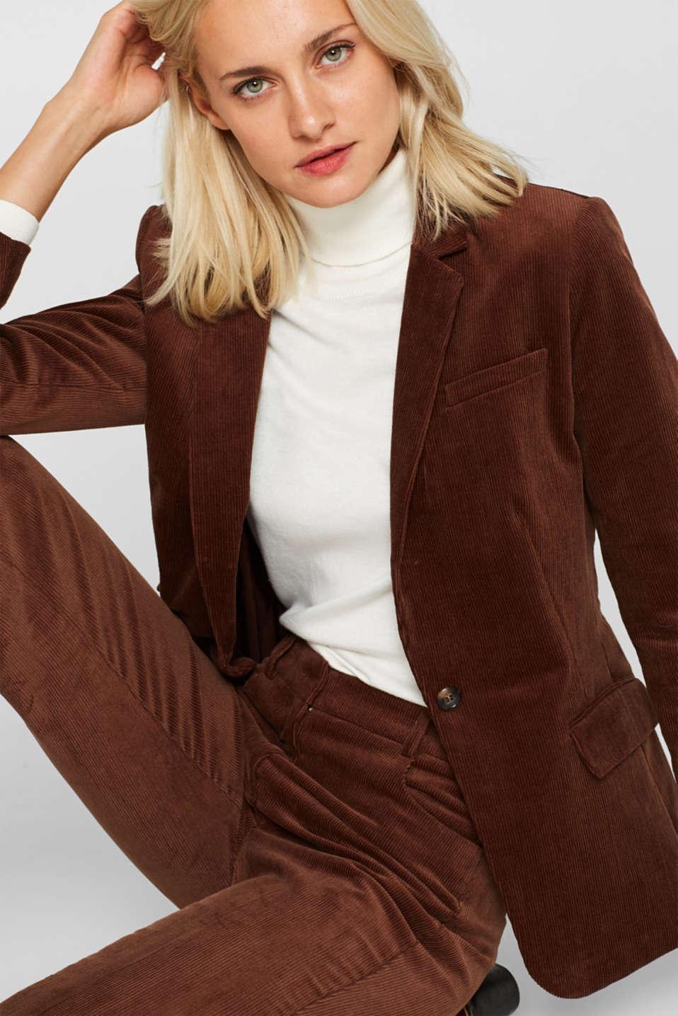 CORD mix + match blazer, DARK BROWN, detail image number 0
