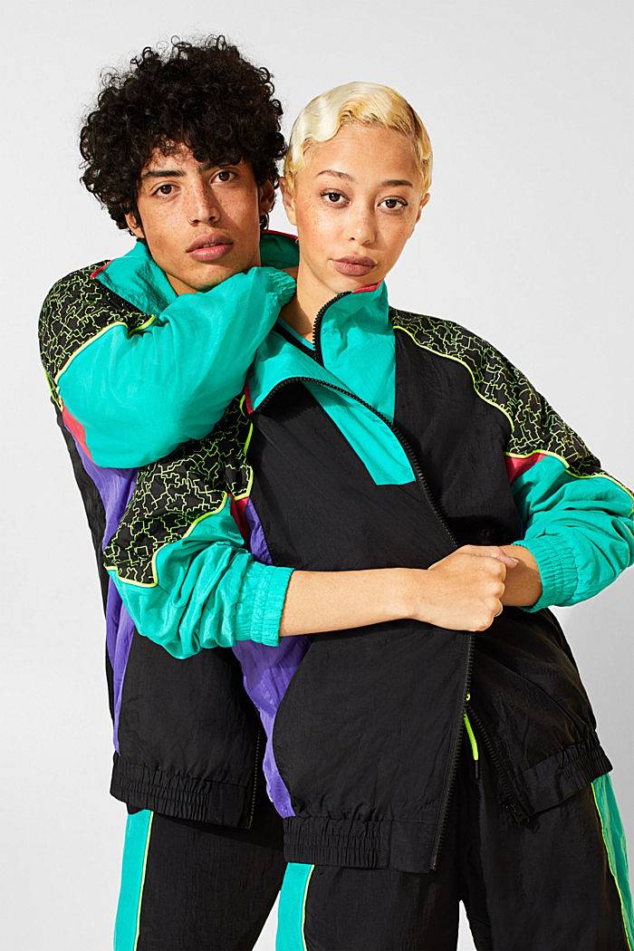 #throwback unisex windbreaker in a colour block look