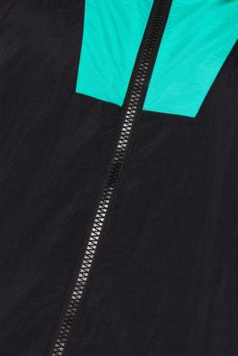#throwback unisex windbreaker in a colour block look, BLACK, detail