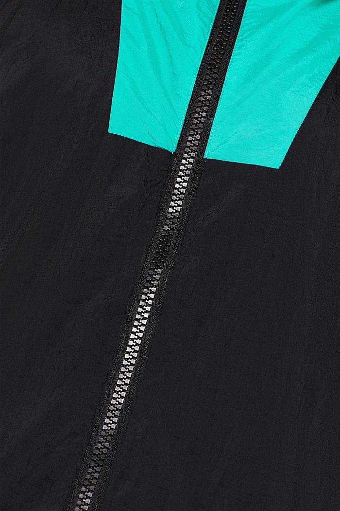 #throwback unisex windbreaker in a colour block look, BLACK, detail image number 5