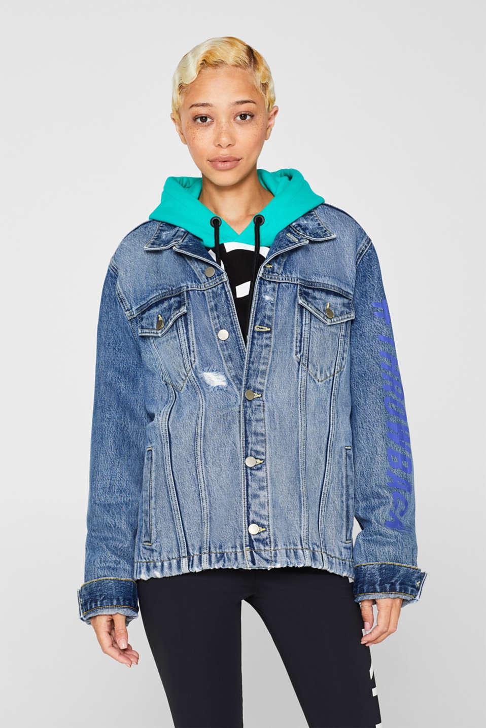 #throwback unisex denim jacket with a print, BLUE MEDIUM WASH, detail image number 2