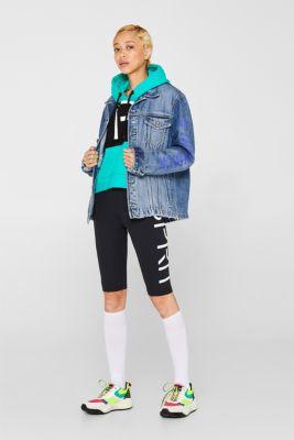 #throwback unisex denim jacket with a print, BLUE MEDIUM WASH, detail