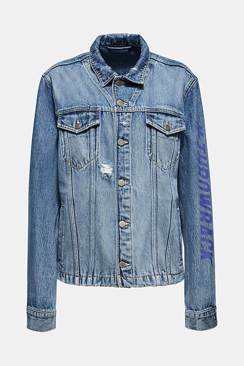 #throwback unisex denim jacket with a print