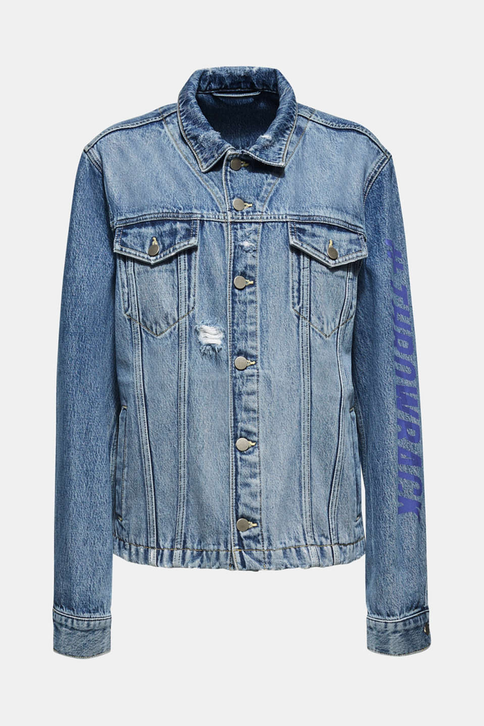 #throwback unisex denim jacket with a print, BLUE MEDIUM WASH, detail image number 6