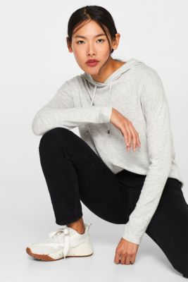 Fine knit hoodie with cashmere, ICE 5, detail