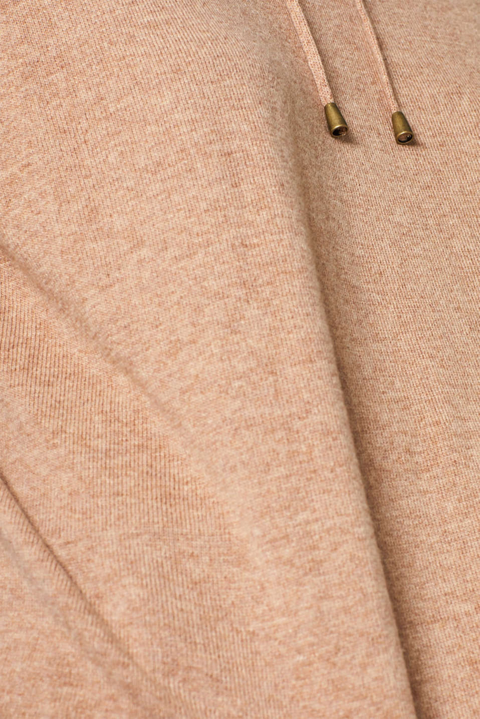 Fine knit hoodie with cashmere, CAMEL 5, detail image number 4