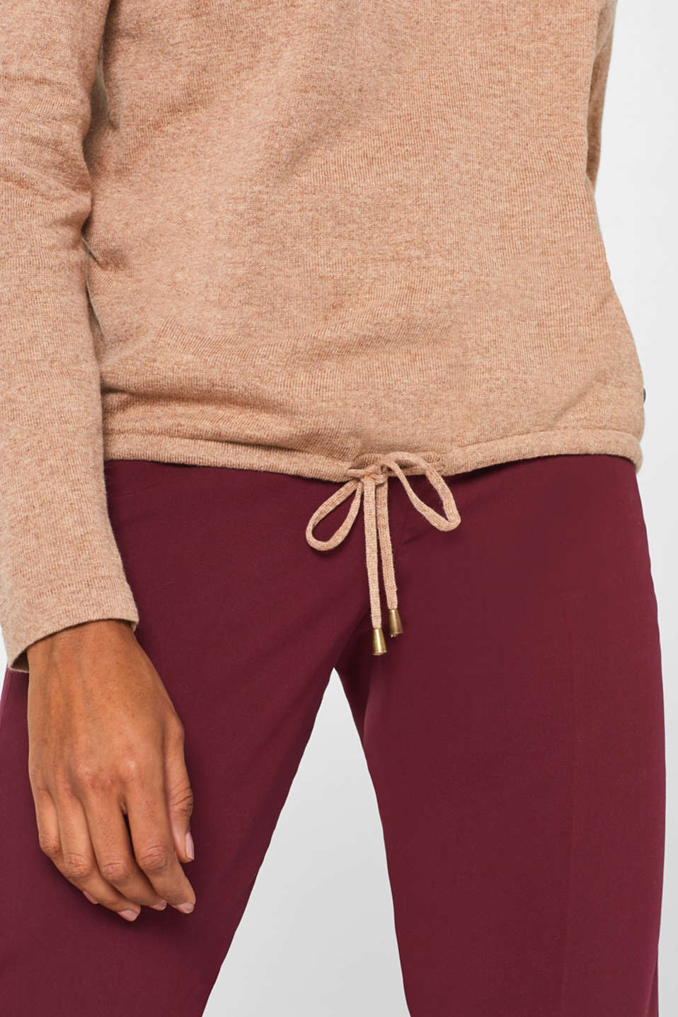 Fine knit hoodie with cashmere, CAMEL 5, detail image number 5