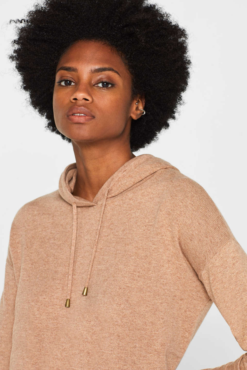 Fine knit hoodie with cashmere, CAMEL 5, detail image number 6