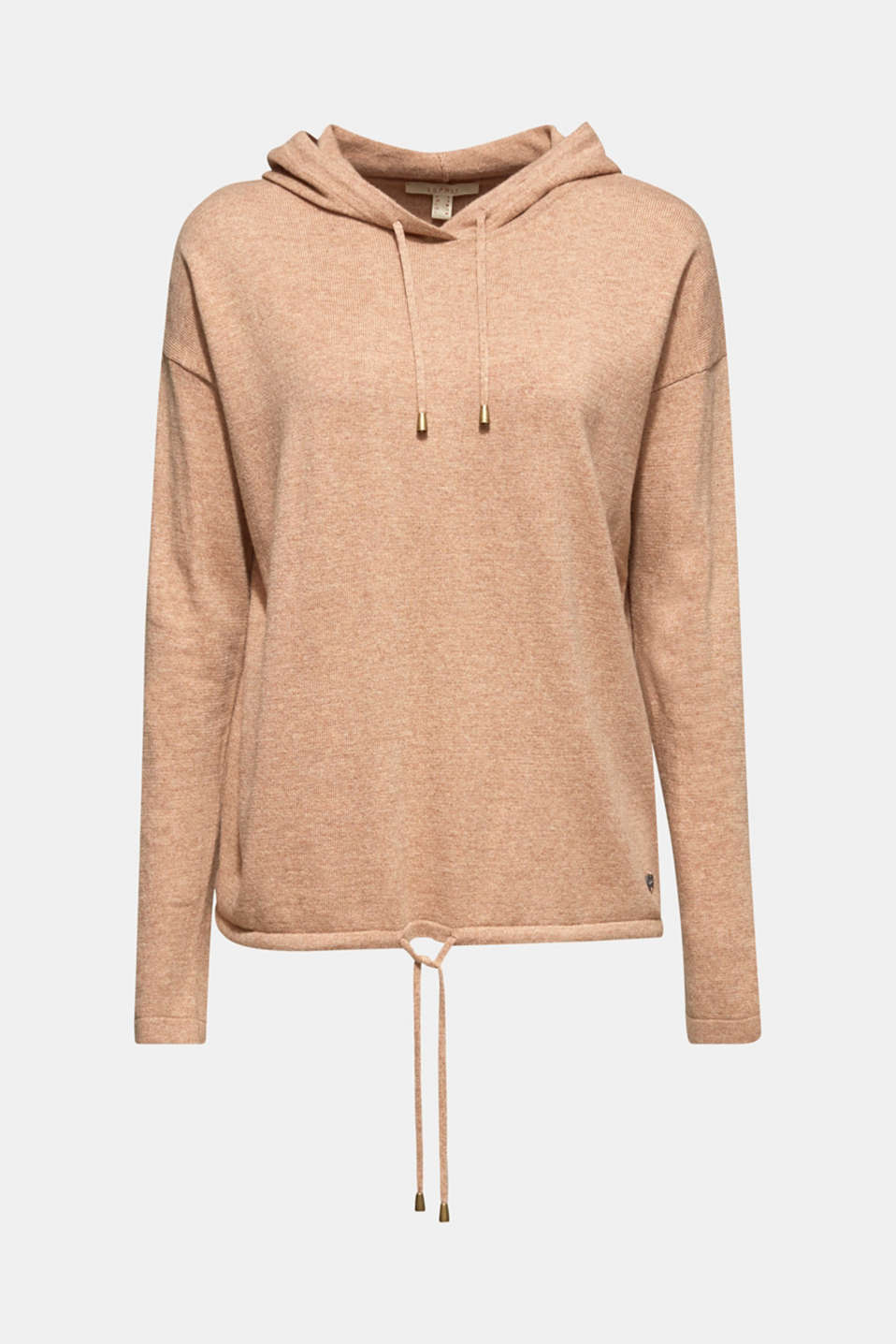 Fine knit hoodie with cashmere, CAMEL 5, detail image number 7
