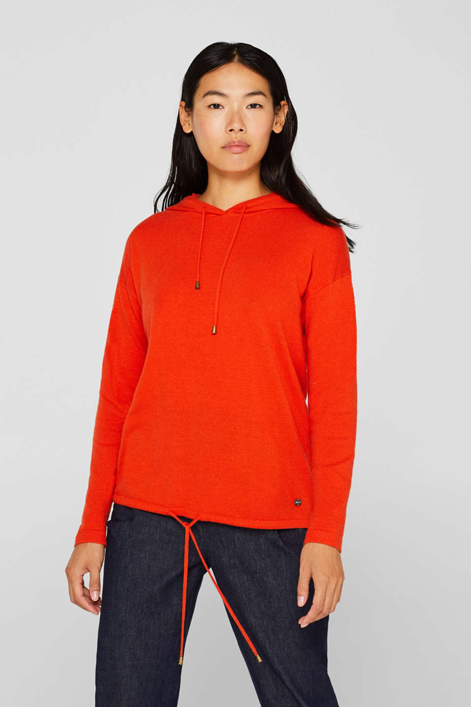 Fine knit hoodie with cashmere, ORANGE RED, detail image number 0
