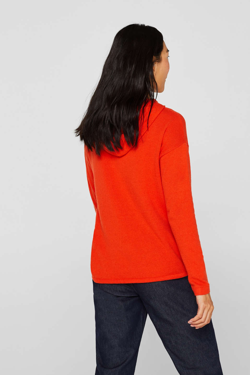 Fine knit hoodie with cashmere, ORANGE RED, detail image number 3