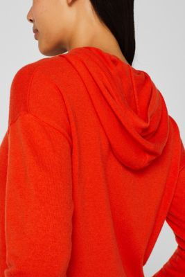 Fine knit hoodie with cashmere, ORANGE RED, detail