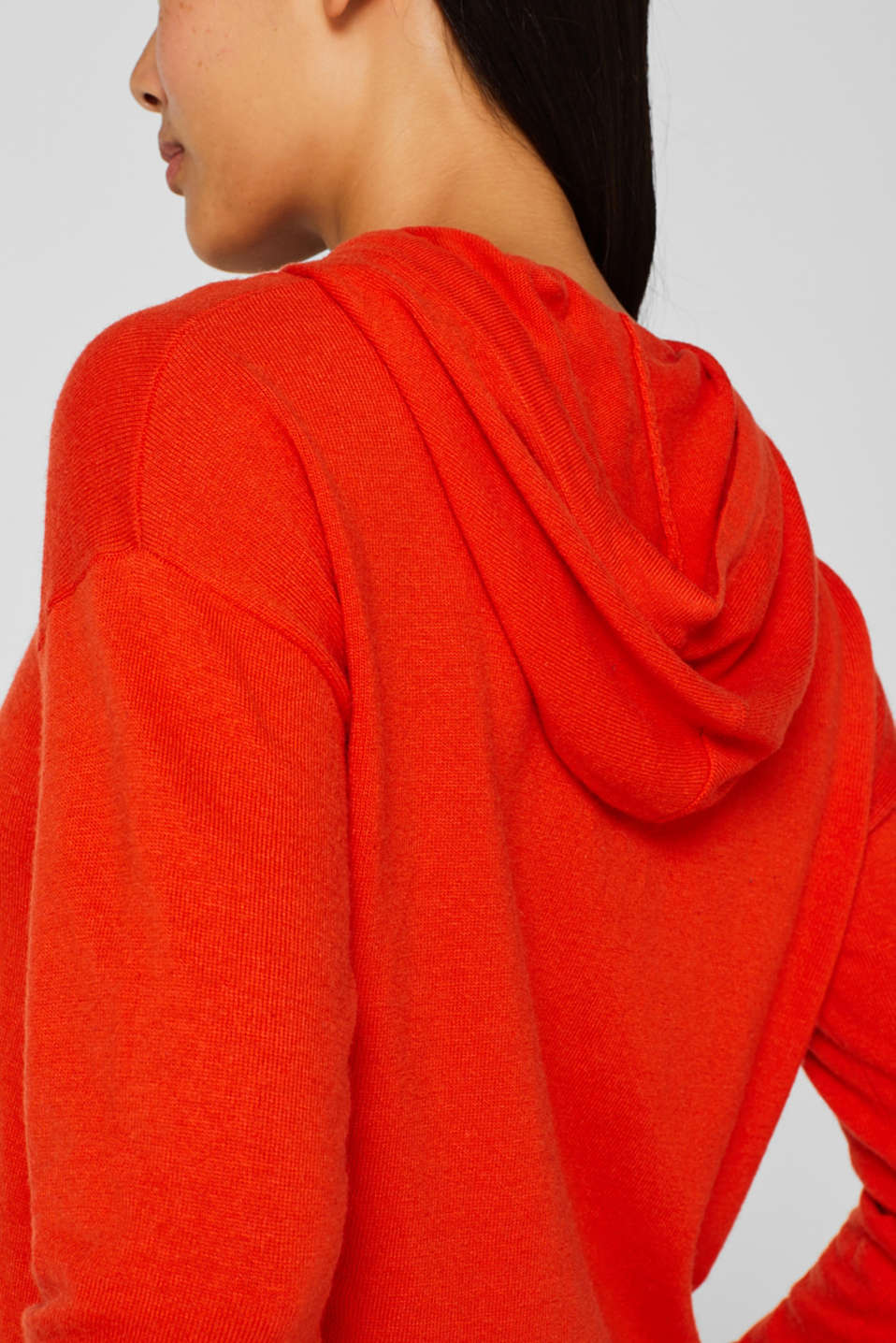 Fine knit hoodie with cashmere, ORANGE RED, detail image number 4