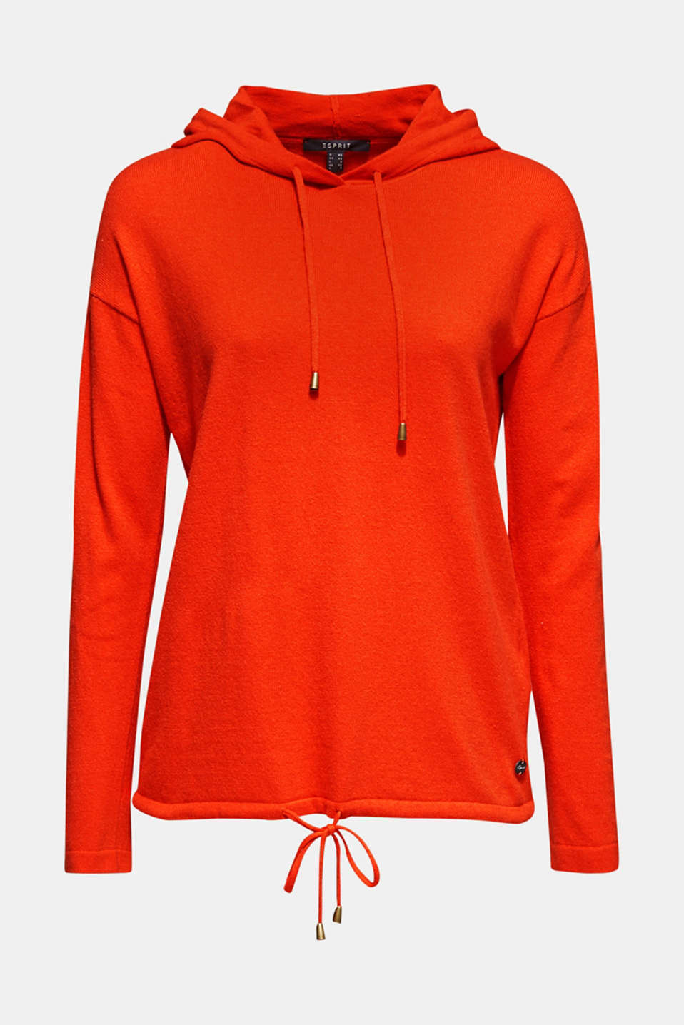 Fine knit hoodie with cashmere, ORANGE RED, detail image number 7