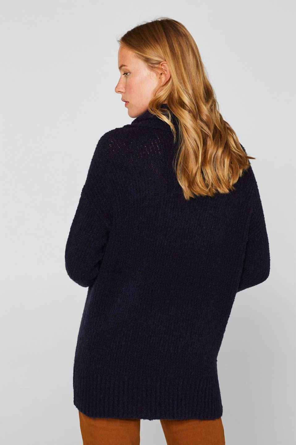 Wool/alpaca blend: polo neck jumper, NAVY, detail image number 3