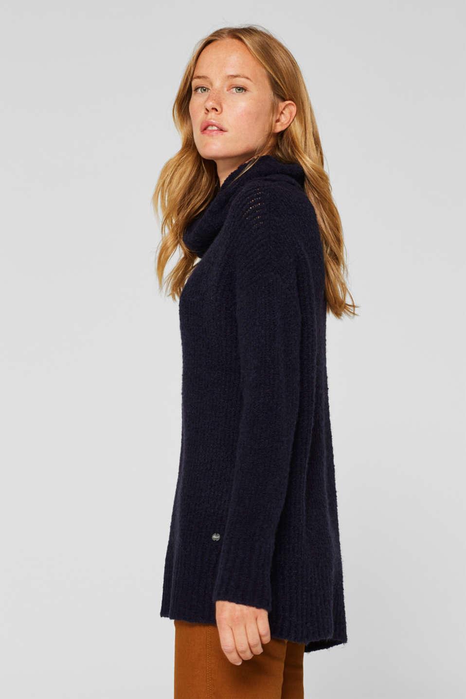 Wool/alpaca blend: polo neck jumper, NAVY, detail image number 5