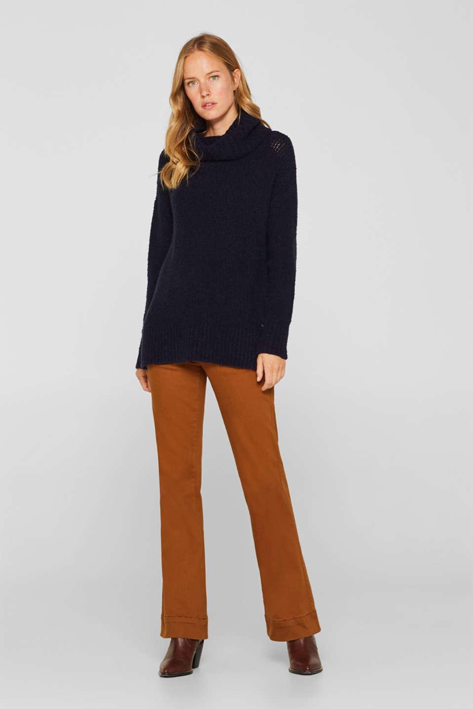 Wool/alpaca blend: polo neck jumper, NAVY, detail image number 1