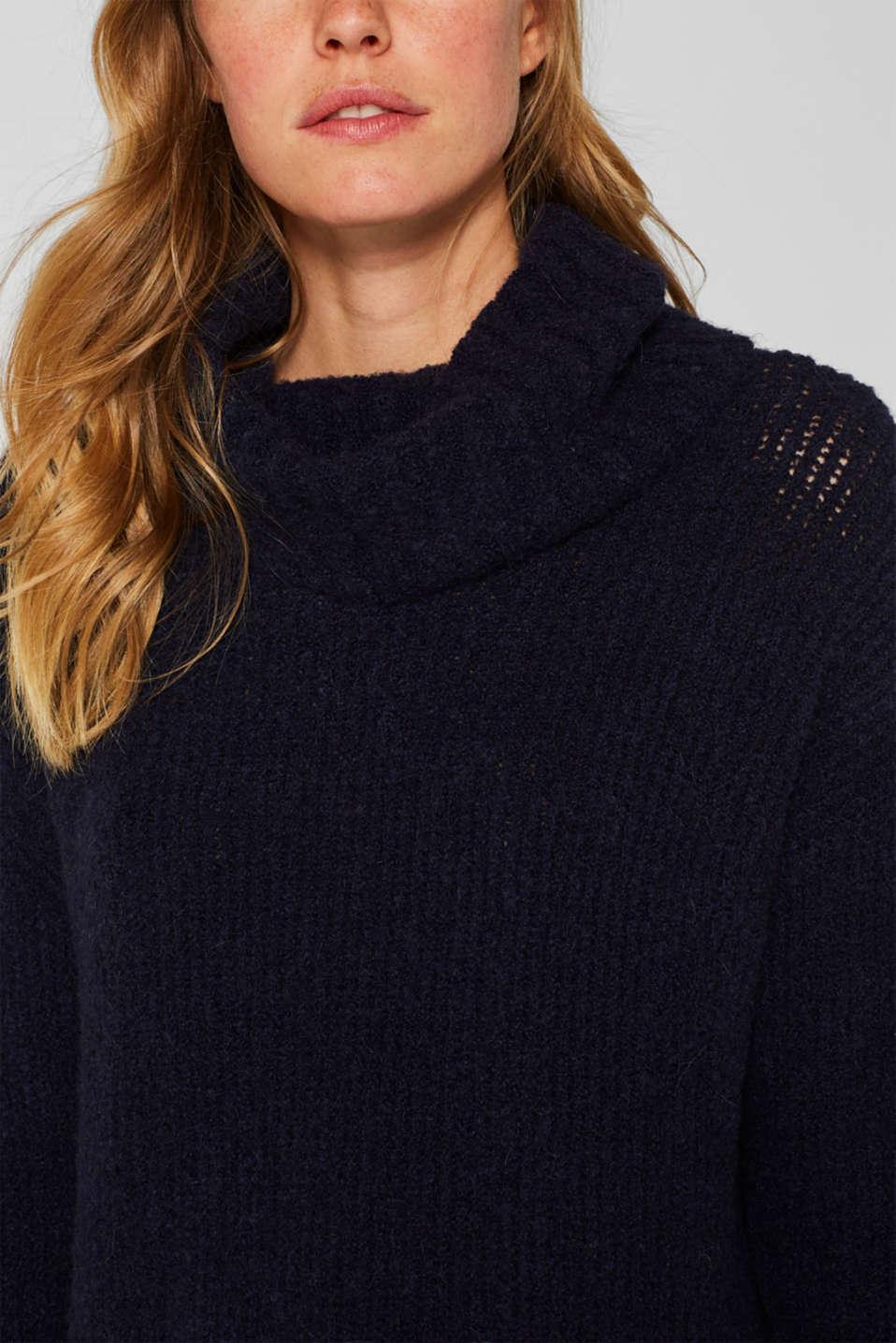 Wool/alpaca blend: polo neck jumper, NAVY, detail image number 2